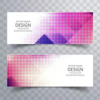 Abstract colorful halftone banners set