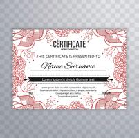 Abstract floral certificaatsjabloon ontwerp