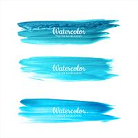 Watercolor blue hand draw strokes set vector illustration