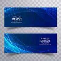 Moderne blauwe golvende banners geplaatst ontwerp