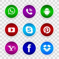 Vacker elegant social media icon set design