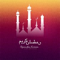 Ramadan Kareem greeting with mosque decorative colorful backgrou