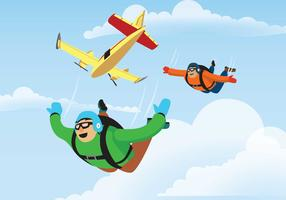 Skydiver saute d'une illustration d'avion