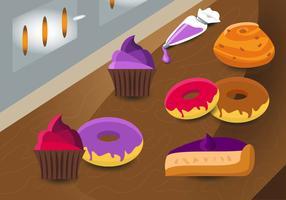 patrón de vector de comida de panadería brioche