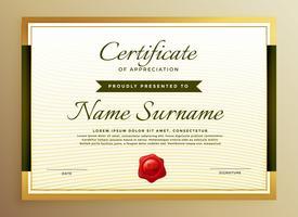 modèle premium de certificat de reconnaissance en or