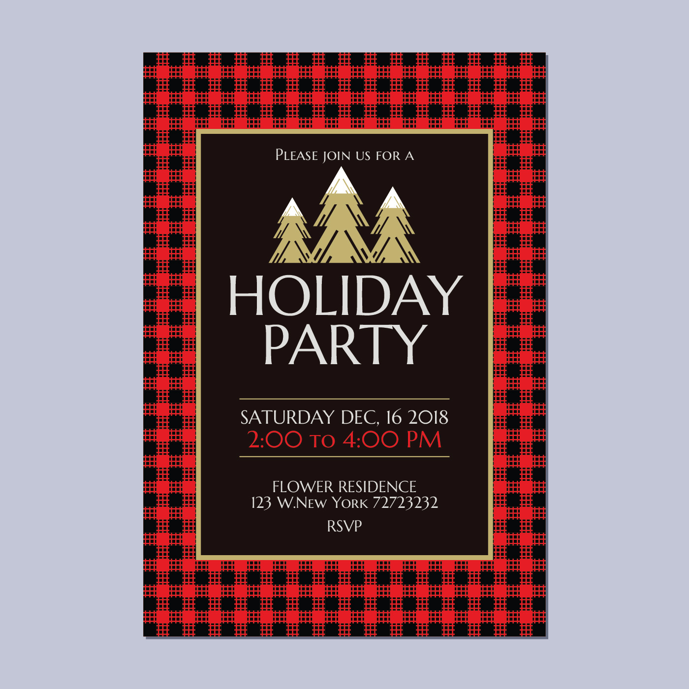 Holiday Party Invitation with buffalo Plaid Theme - Download Free ...