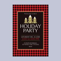Holiday Party Invitation med Buffalo Plaid Theme