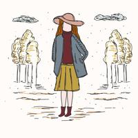 Girl In Fall Fashion Vector