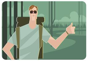 Backpacker Hitchhiking Vector
