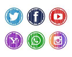Moderna socila media ikoner uppsättning