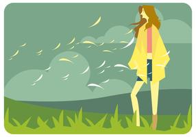 Girl in Fall Fashion in Outdoor Vector