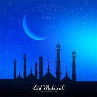 Abstract Eid Mubarak religious blue background