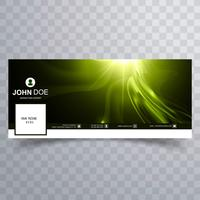 Abstract facebook timeline cover shiny wave template vector