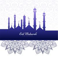 Elegant Eid mubarak islamic background card vector