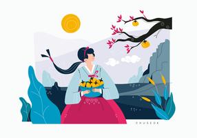 Cute Girl Celebrating Korean Harvest Festival Vector Flat Illustration Background