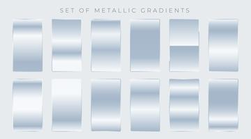 set of shiny silver gradients