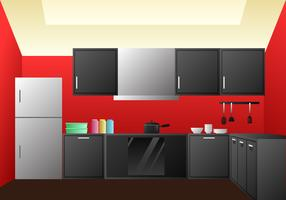 Realistic Kitchen Room Design Elements Vector