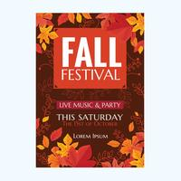 Vector Autumn Party Poster or Fall Festival  with Leaves and Hand drawn