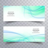 Elegant wavy banners set vector design