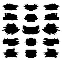 Abstract black grunge stroke set