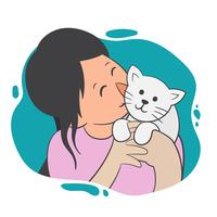 Chica y su gato Vector Illustration