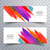 Watercolor stroke colorful banners set design