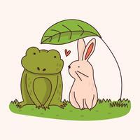 Conejo y rana bajo una hoja