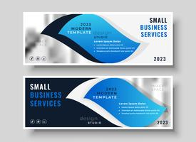stylish blue business banner design template