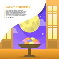 Flat Chuseok Autumn Festival with Full Moon Background Vector Illustration