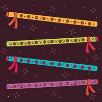 Hand Drawn Dandiya Sticks Vector