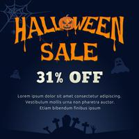 Typographie de vente d'Halloween et fond fantasmagorique
