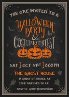 Halloween party and costume contest Invitation with scary pumpkins design