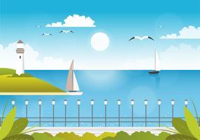 illustrazione vettoriale bella vista sul mare