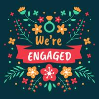 We're Engaged  Background Template Vector