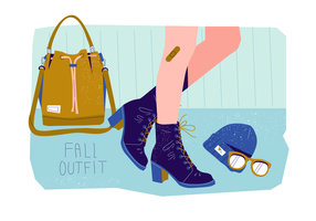 Snygga Fall Stövlar På Fall Outfit Collection Vector Flat Background Illustration