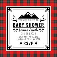 Baby Shower Invitation Buffalo Plaid Style Vector
