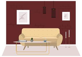 Vector Living Room Furniture Illustration