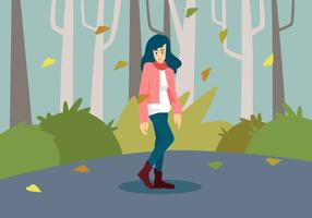 Girl In Fall Fashion Vector Illustration
