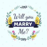 Ska du gifta dig med mig kortmallvektor