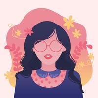 Flicka med vågigt hår och glasögon Vector