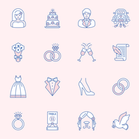 Wedding Outline Icon Vector Set