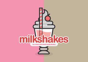 Milkshake cafe or restaurant logo or illustration