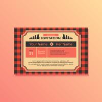 Landscape Buffalo Plaid Wedding Invitation Vector