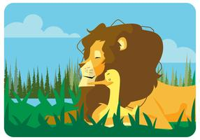 Lion And Duck Friendship Vector