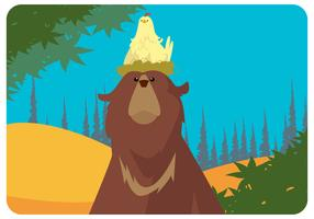 Bear And Chicken Pair Vector