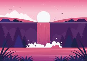 Vector Beautiful Waterfall Illustration