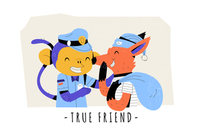 True Friendship Funny Monkey y Fox Vector Flat Illustration