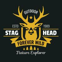 Stag Head Logo vintage vettore