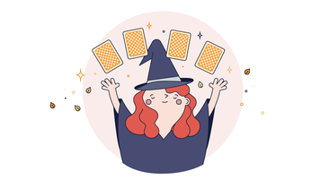 Witch Reading Tarot Vector