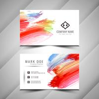 Abstract colorful watercolor business card design template